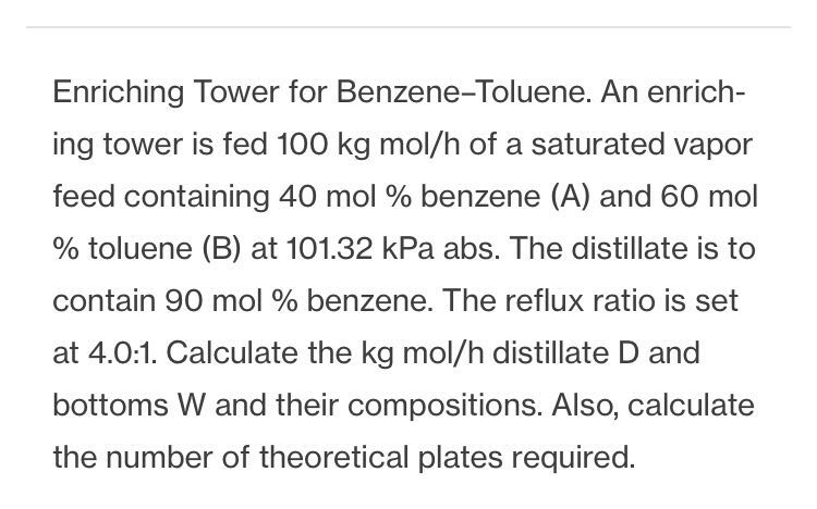 Enriching Tower for Benzene-Toluene. An enrich ing tower is fed 100 kg mol/h of a saturated vapor feed containing 40 mol % benzene (A) and 60 mol % toluene (B) at 101.32 kPa abs. The distillate is to contain 90 mol % benzene. The reflux ratio is set at 4.0:1. Calculate the kg mol/h distillate D and bottoms W and their compositions. Also, calculate the number of theoretical plates required.