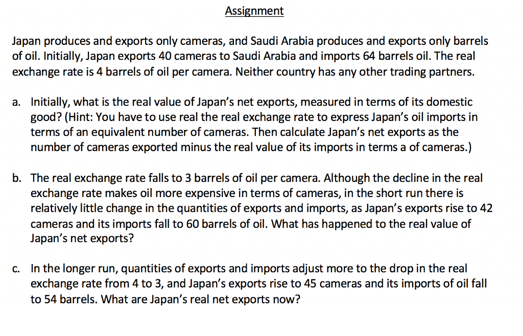 Solved: Assignment Japan Produces And Exports Only Cameras