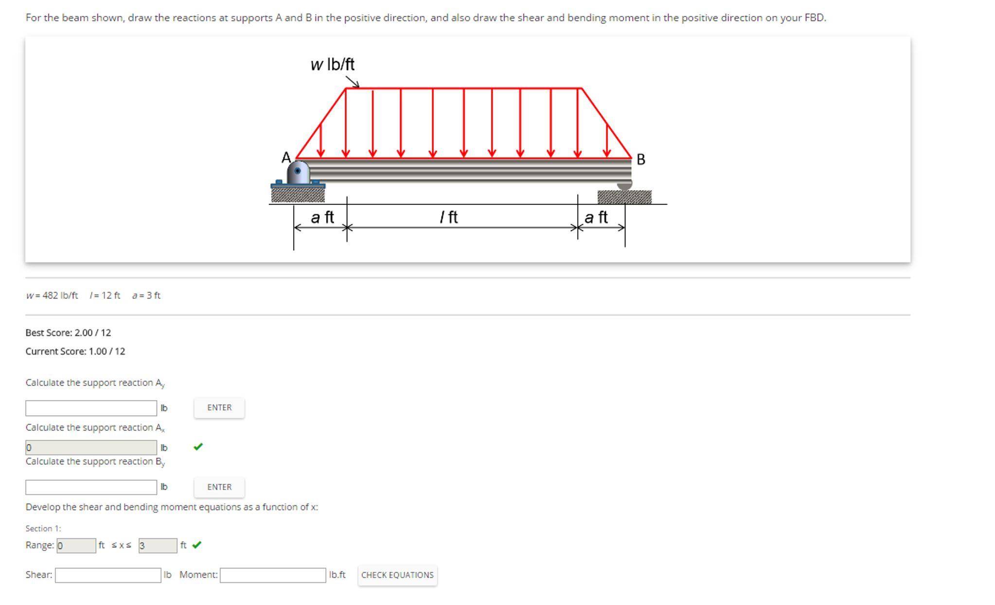 Solved For The Beam Shown Draw Reactions At Supports Of Reactant Bending Moment On Diagram