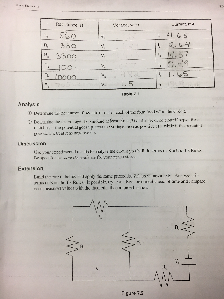 Solved Using Kirchhoffs Rules Fill Out The Table With T Circuit And Determines State Of By Comparing Given Resisotrs