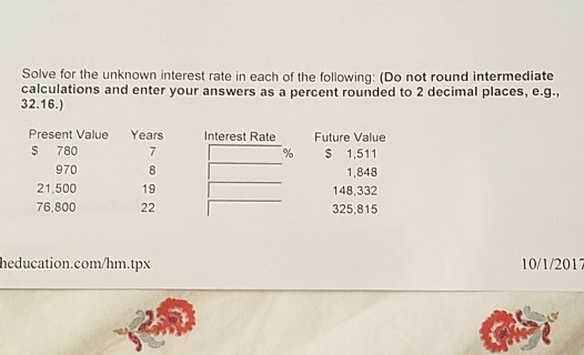 Finance archive october 01 2017 chegg solve for the unknown interest rate in each of the following do not round fandeluxe Image collections