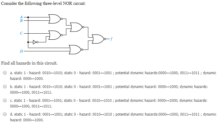 solved consider the following three level nor circuit fin
