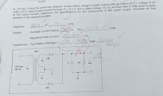 Solved Name I1 34 Pts Using The Schematic Diagram Sho