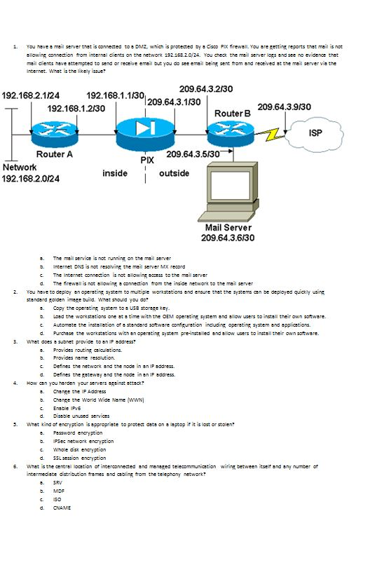Solved: You Have A Mail Server That Is Connected To A DMZ