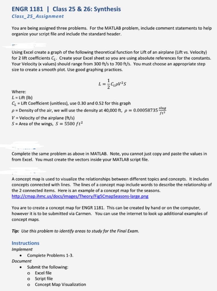 Solved: ENGR 1181 | Class 25 & 26: Synthesis Class_25 _Ass