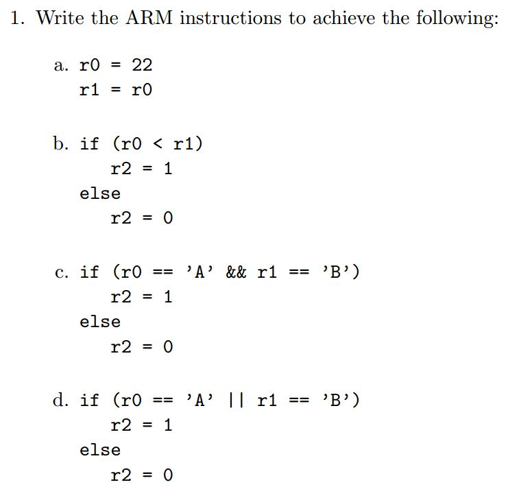 Solved Write An Arm Instruction Set That Is Equivalent To