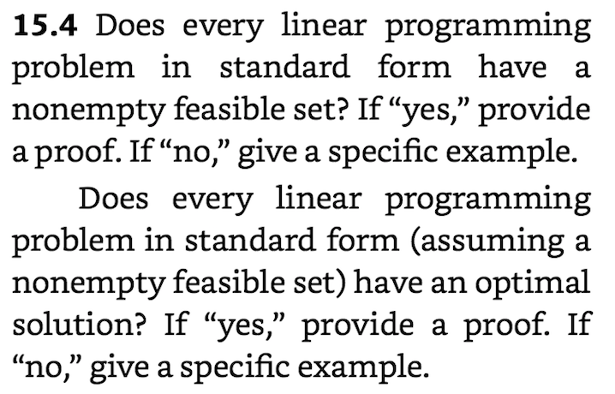 Solved Does Every Linear Programming Problem In Standard