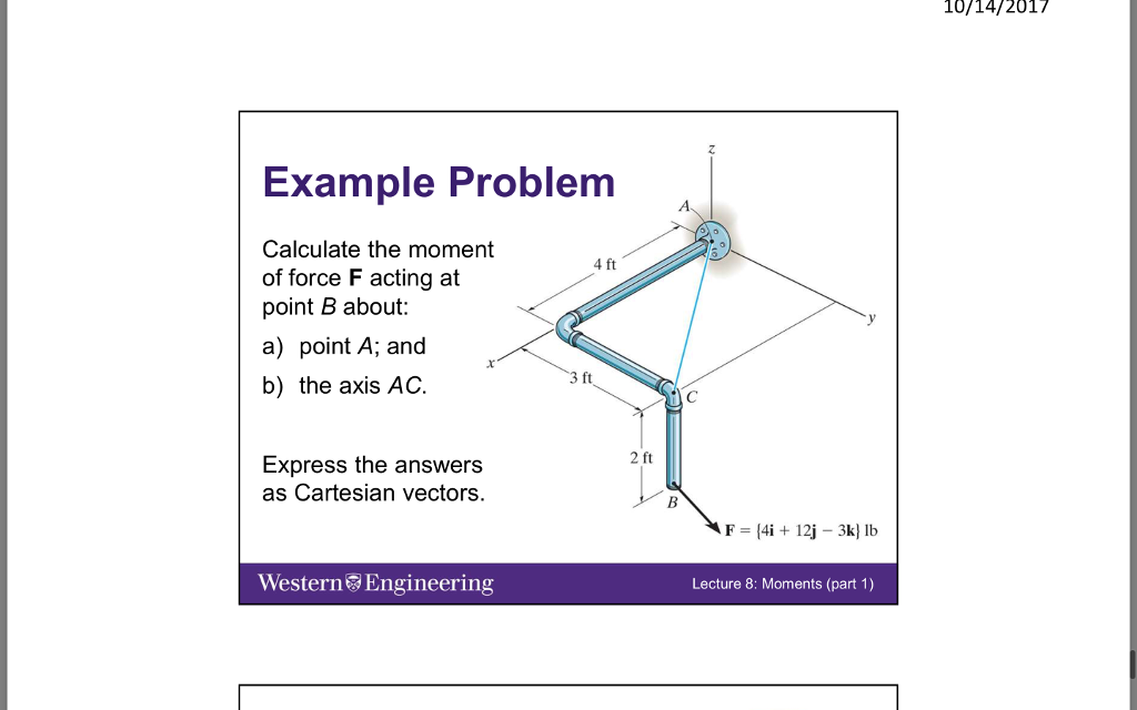 Solved: 10/14/2017 Example Problem   Calculate The Moment