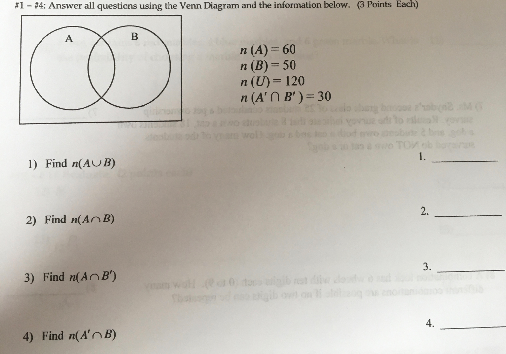 Solved Answer All Questions Using The Venn Diagram And Th