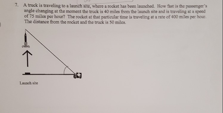 a truck is traveling to a launch site, where a rocket has been