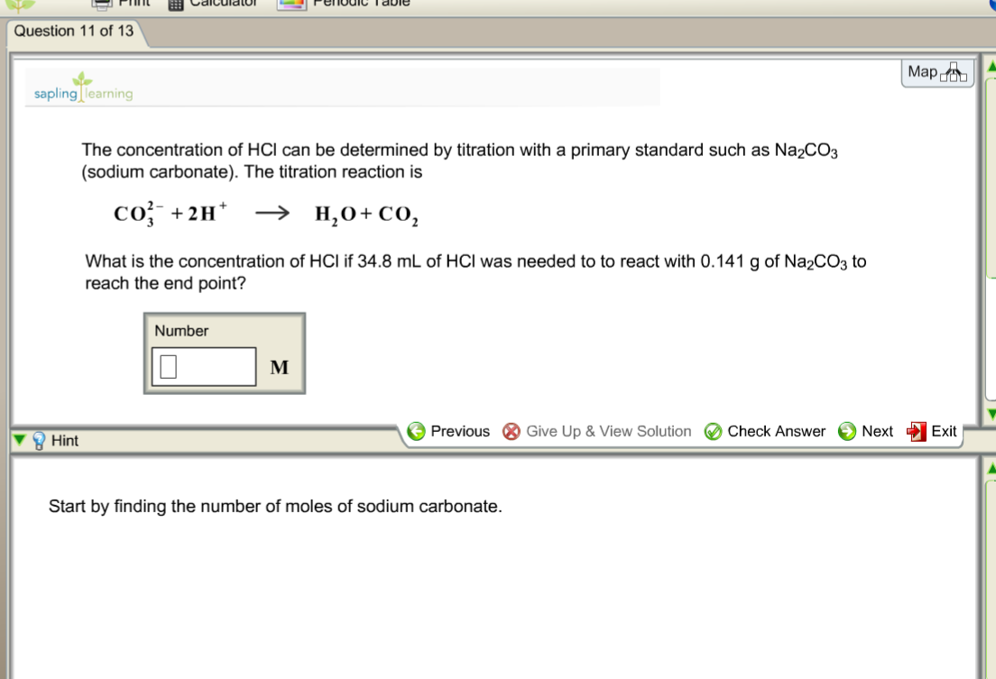 Chemistry archive december 09 2015 chegg question 11 of 13 mapda sapling learning the concentration of hcl can be determined by titration buycottarizona