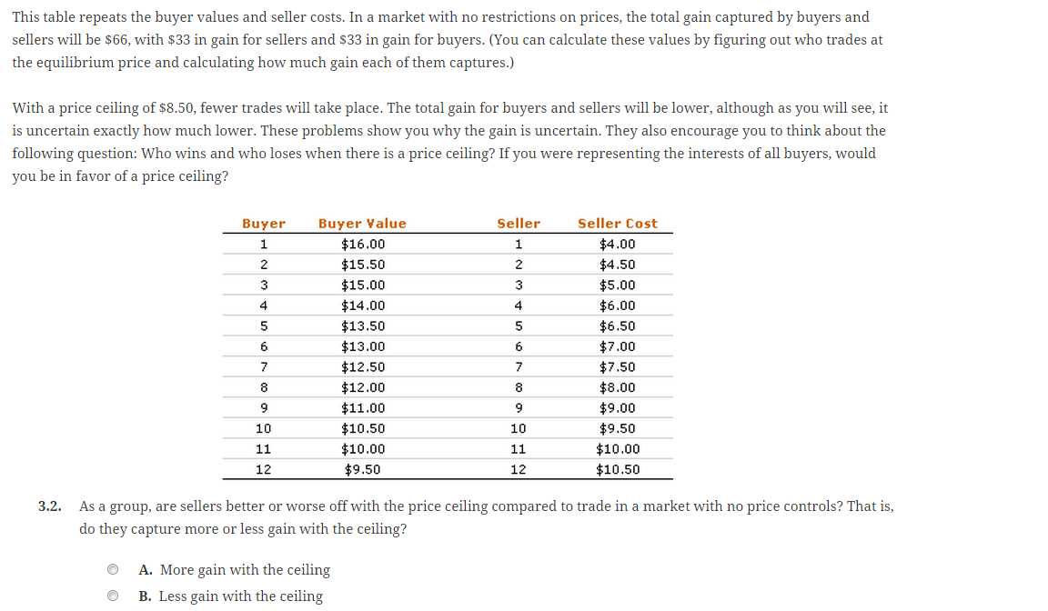 Solved: This Table Repeats The Buyer Values And Seller Cos