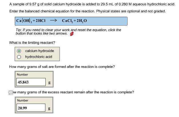 Solved A Sample Of 957 G Of Solid Calcium Hydroxide Is A