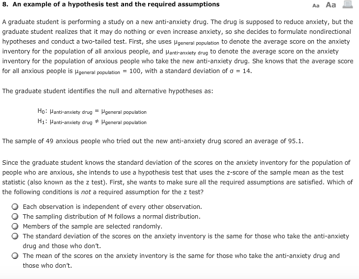 Solved 8 An Example Of A Hypothesis Test And The Require