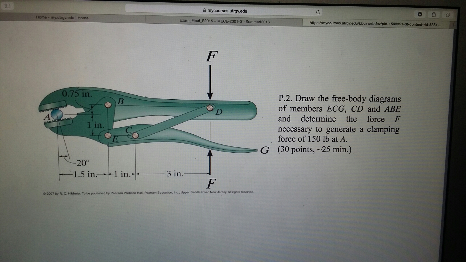 Free Body Diagram Pearson Automotive Wiring Diagrams Examples Solved Draw The Of Members Ecg Cd And Rh Chegg Com