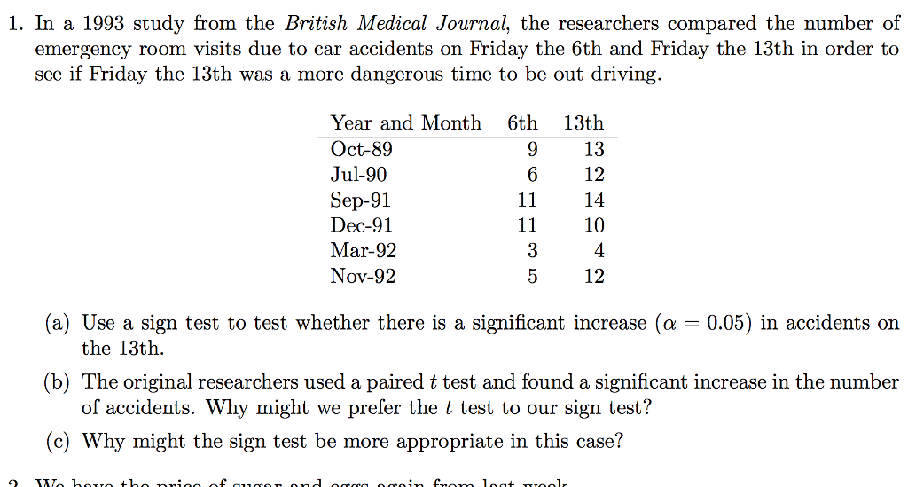 Solved: In A 1993 Study From The British Medical Journal ...