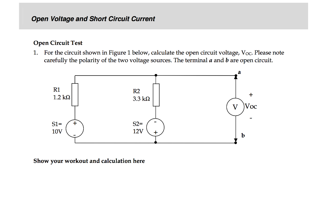 solved open voltage and short circuit current open circui rh chegg com