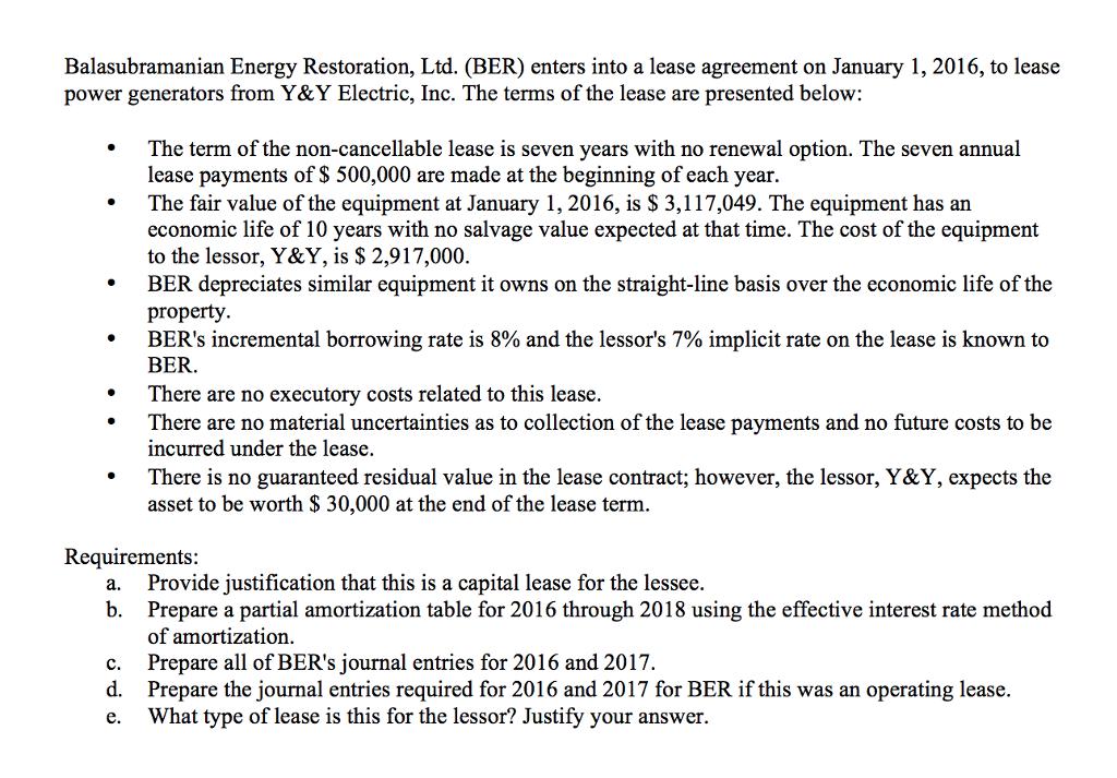 Solved Balasubramanian Energy Restoration Ltd Ber Ent
