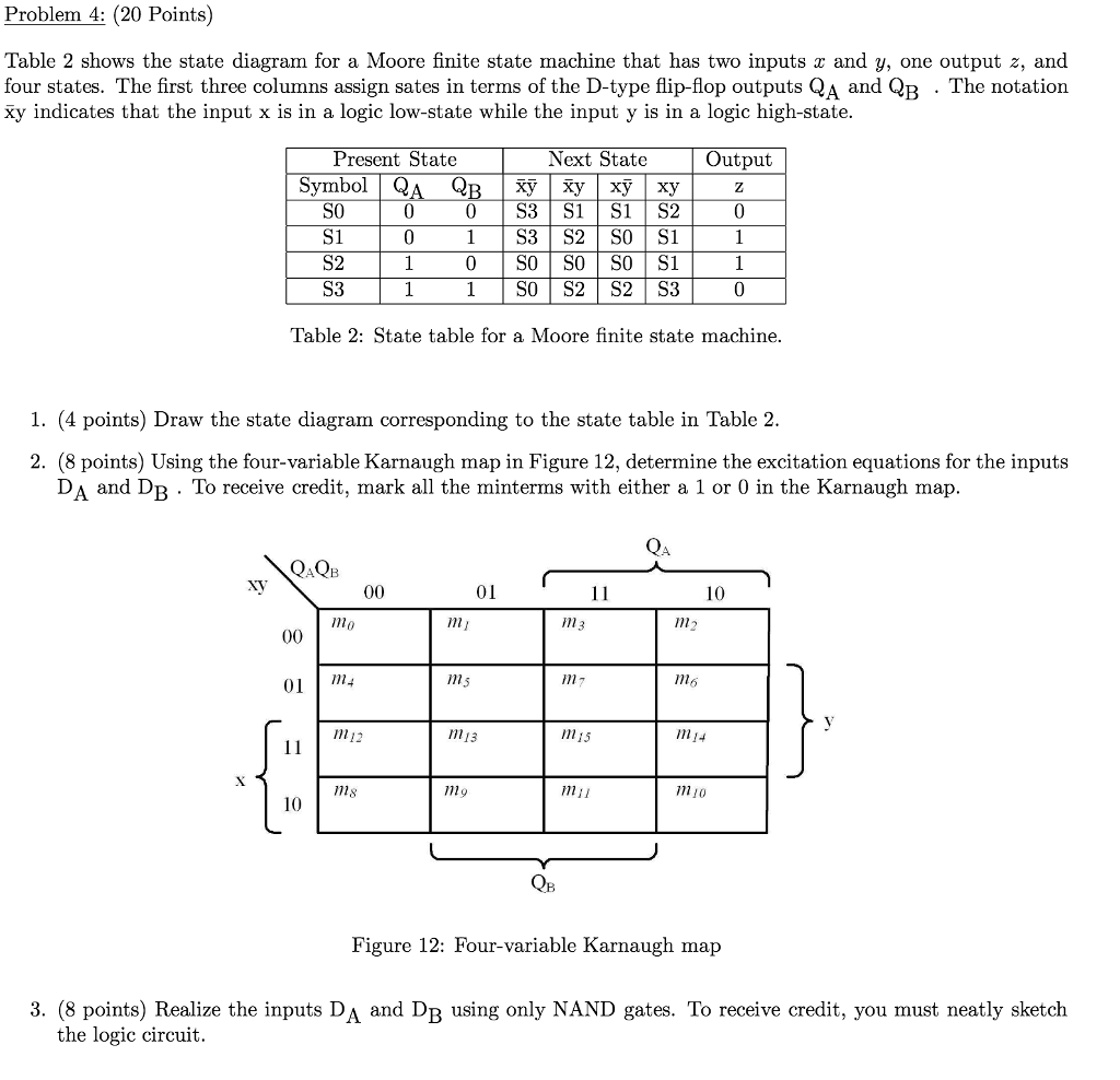 Solved problem 4 20 points table 2 shows the state dia problem 4 20 points table 2 shows the state diagram for a moore ccuart Image collections