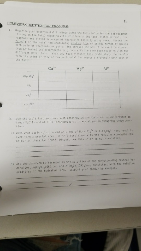 91 HOMEWORK QUESTIONS and PROBLEMS 1 Organize