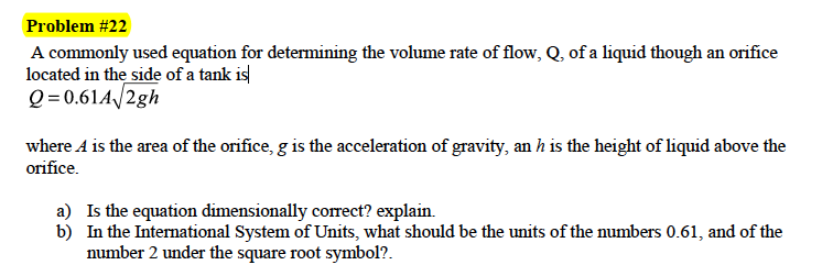Solved A Commonly Used Equation For Determining The Volum