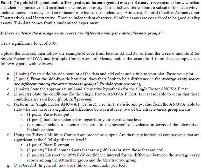 part i points do good looks affect grades on com part i 16 points do good looks affect grades on human graded essays