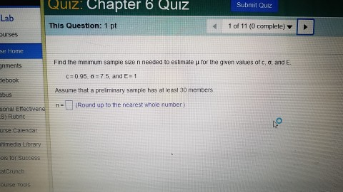 Statistics and probability archive march 24 2017 chegg quiz chapter 6 quiz submit quiz lab this question 1 pt 4 1 fandeluxe Images