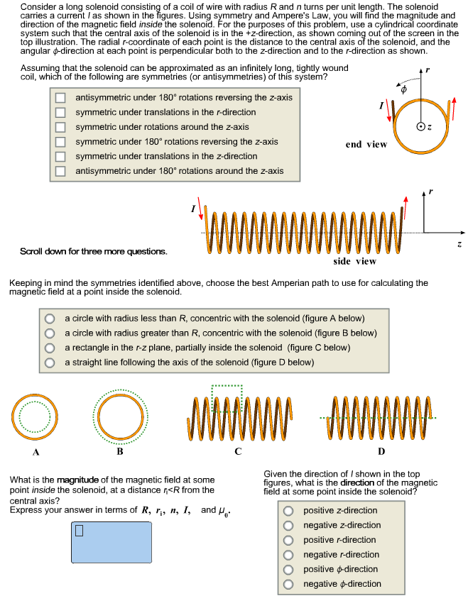 Solved: Consider A Long Solenoid Consisting Of A Coil Of W
