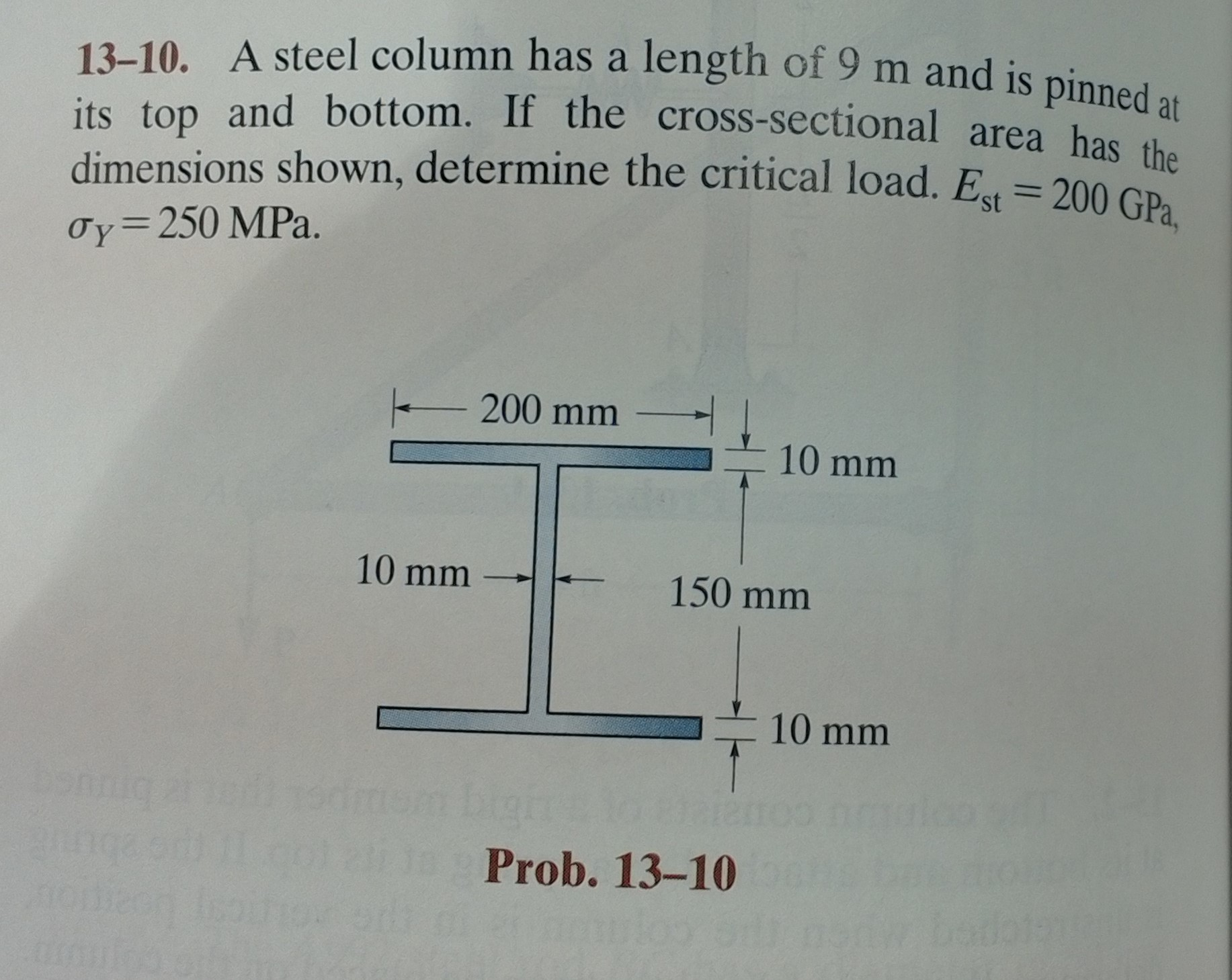 Solved: A Steel Column Has A Length Of 10 5 M And Is Pinne