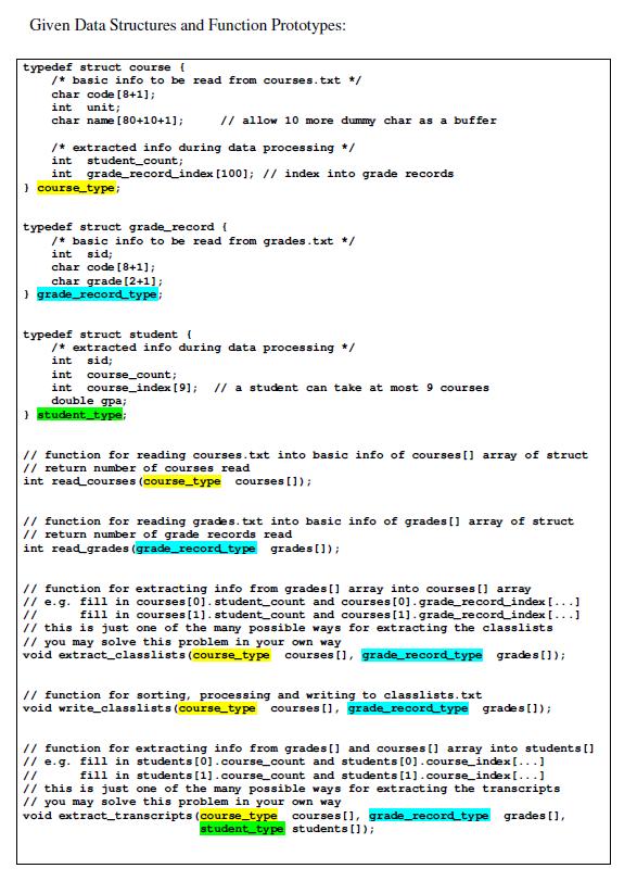 Solved: C Program For Courses Registration Courses txt ENG
