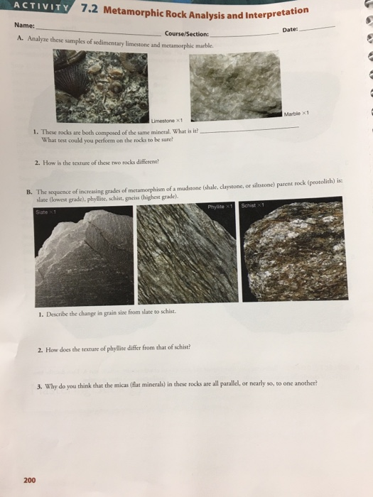 Solved: 7 1 Metamorphic Rock Inquiry ACTIVITY Date: Course