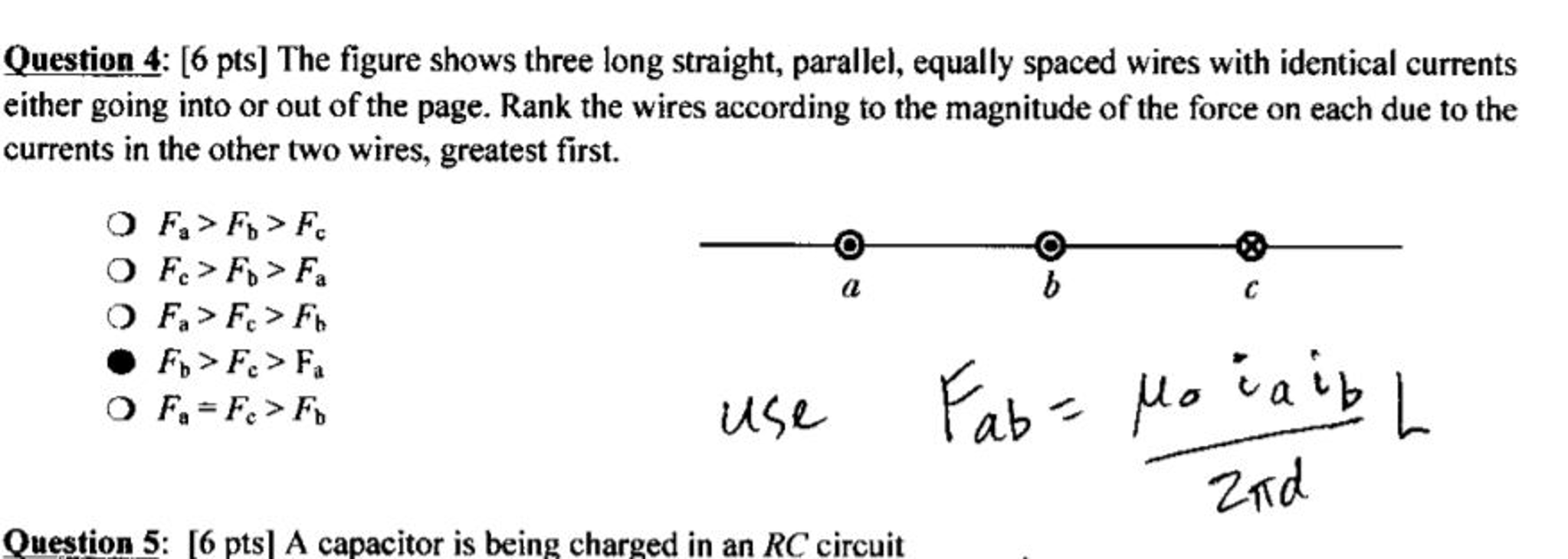 Solved The Figure Shows Three Long Straight Parallel Eq Wiring Two Capacitors In Question Equally Spaced Wires With Identical Currents Eith
