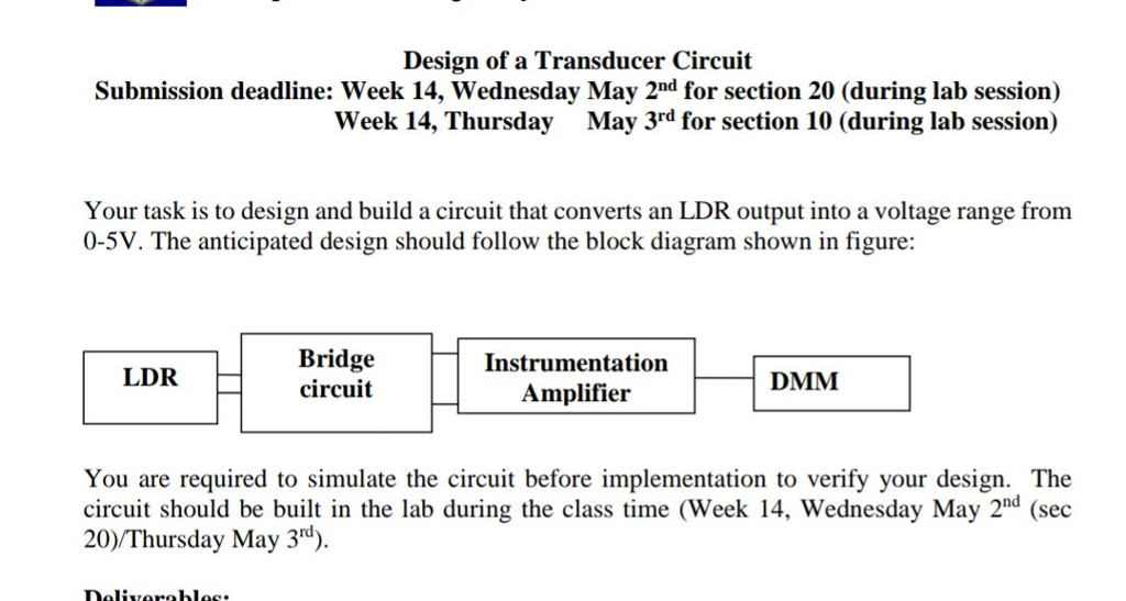 Solved: Design Of A Transducer Circuit Submission Deadline ...