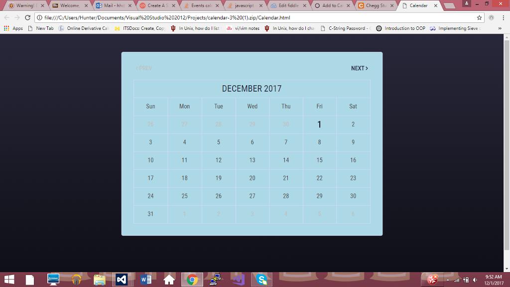 Edit Existing Calendar Html, Css, And Javascript C