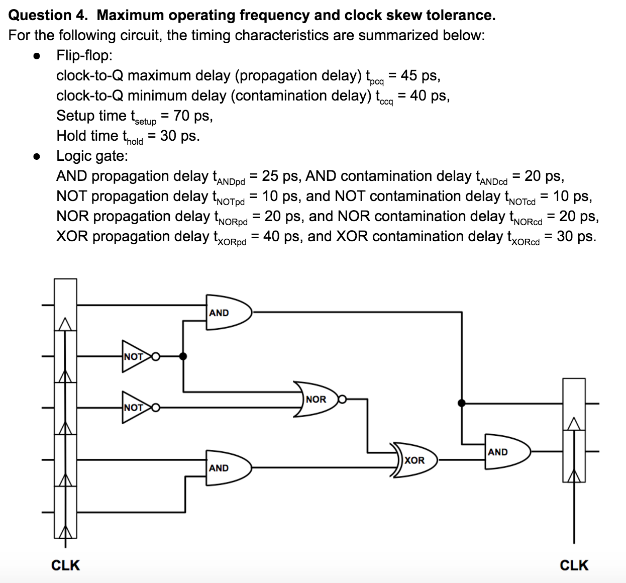 Question 4. Maximum operating frequency and clock skew tolerance For the following circuit, the timing characteristics are summarized below: . Flip-flop clock-to-Q maximum delay (propagation delay) tpcq-45 ps. clock-to-Q minimum delay (contamination delay) t- 40 ps, Setup time tsetup- 70 ps, Hold time thold 30 ps » Logic gate: AND propagation delay tAND NOT propagation delay twoTod 1 NOR propagation delay NoRpd XOR propagation delay txoRpd 40 ps, ,-25 ps. AND contamination delay tANDod-20 ps. pd d 10 ps, and NOT contamination delay tvoTcd - 10 ps, d- , and NOR contamination delay tNoRcd 20 ps, NoTpd 10 ps 20 ps and XOR contamination delay txoRcd- 30 ps AND NOT NOR NOT AND XOR AND CLK CLK