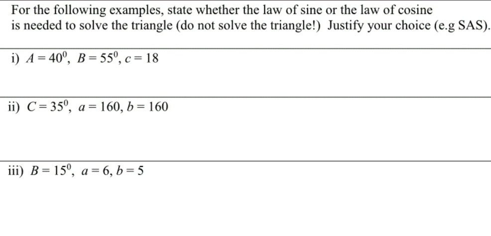 solved: for the following examples, state whether the law