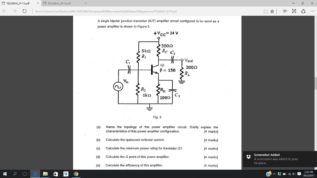Solved: A Single Bipolar Junction Transistor (BJT) Amplifi