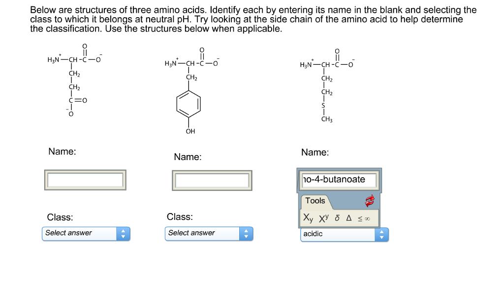 below are structures of three amino acids  identif
