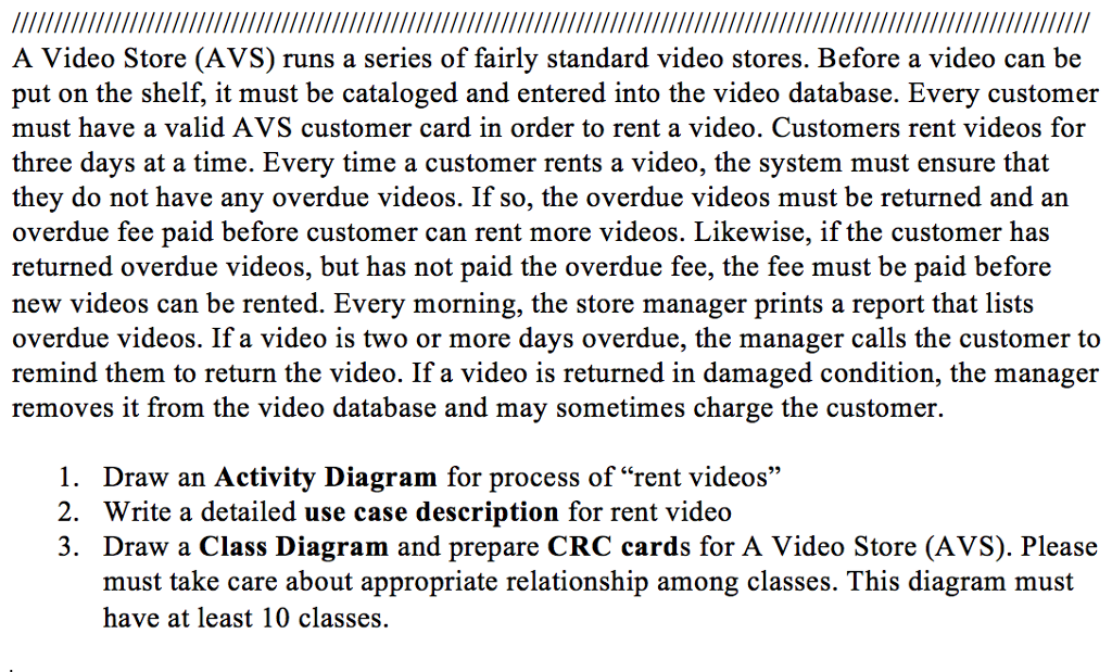 Solved a video store avs runs a series of fairly standa a video store avs runs a series of fairly standard video stores before ccuart Images