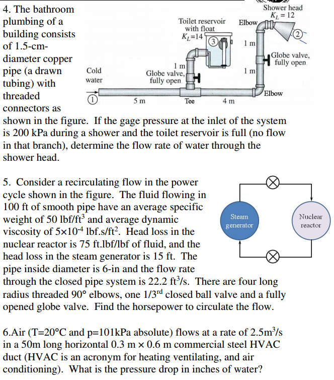 Question The Bathroom Plumbing Of A Building Consists Of 1 5 Cm Diameter Copper Pipe A Drawn Tubing With