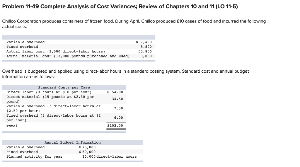 Accounting archive november 20 2017 chegg problem 11 49 complete analysis of cost variances review of chapters 10 and 11 fandeluxe Image collections