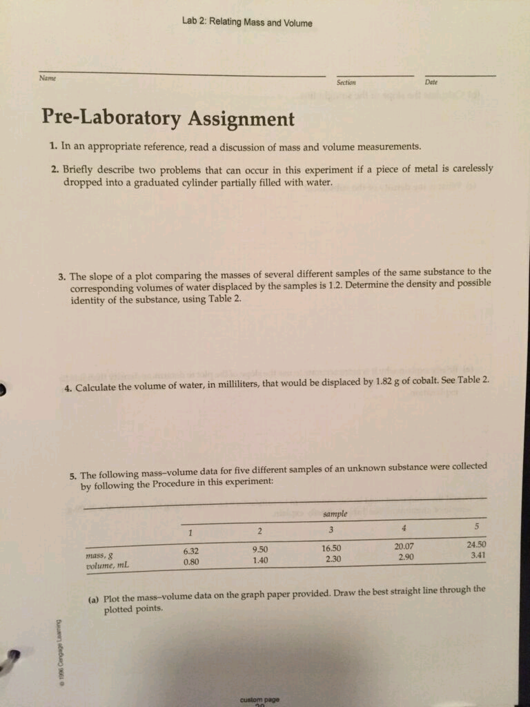 Solved: Lab 2: Relating Mass And Volume Section Date Pre-L ...