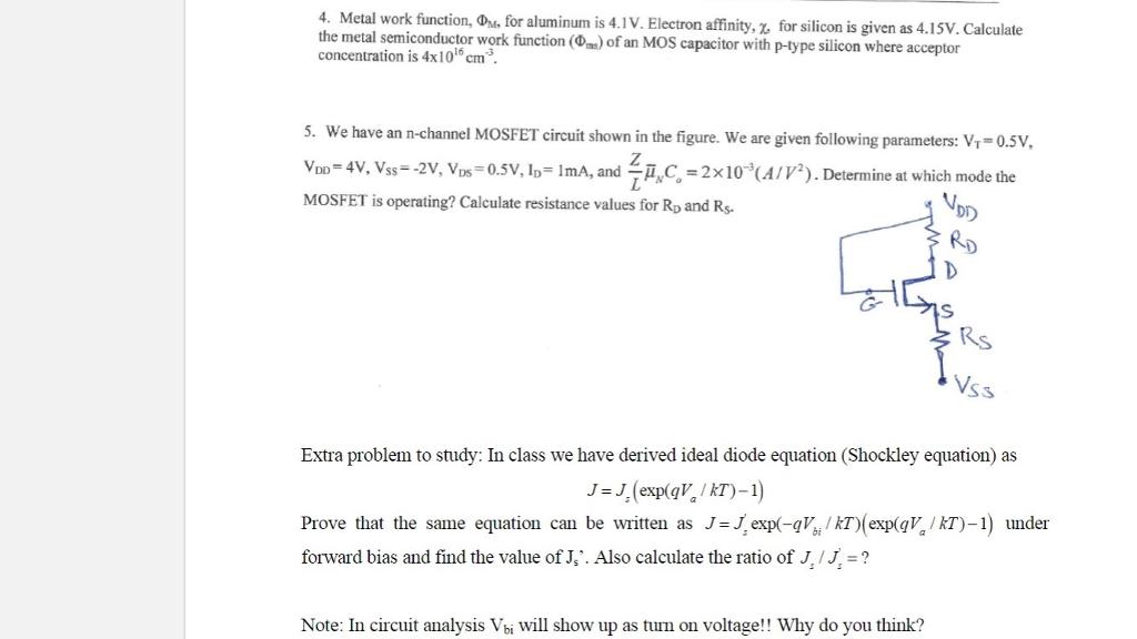 Solved 4 Metal Work Function O For Anum S 4 V Electron Chegg Com