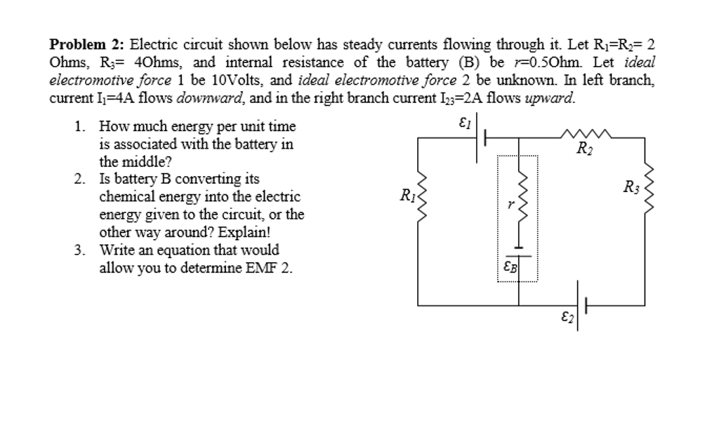 Solved Electric Circuit Shown Below Has Steady Currents F
