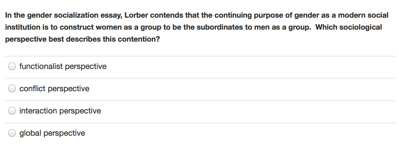 in the gender socialization essay lorber contends com question in the gender socialization essay lorber contends that the continuing purpose of gender as a mod