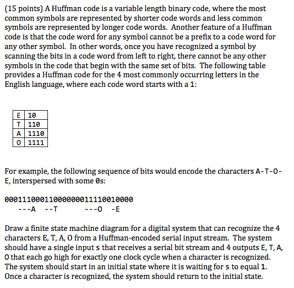 15 Points A Huffman Code Is A Variable Length Bi Chegg