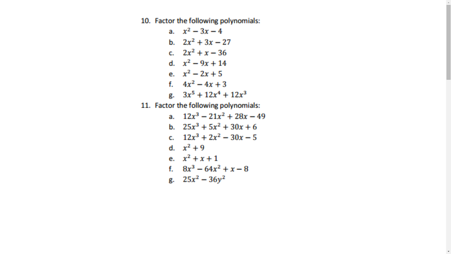 Factor The Following Polynomials: X^2 3x 4 2x