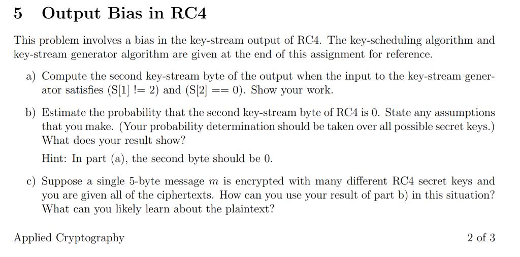5 Output Bias In RC4 This Problem Involves A Bias     | Chegg com