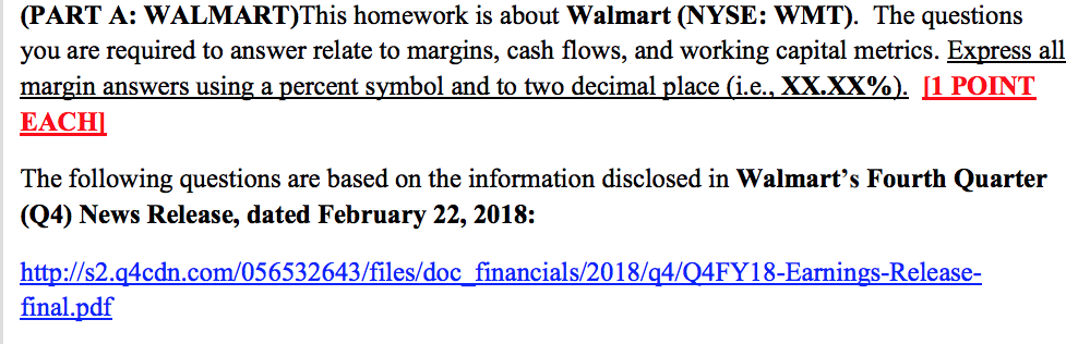 Part A Walmartthis Homework Is About Walmart N Chegg