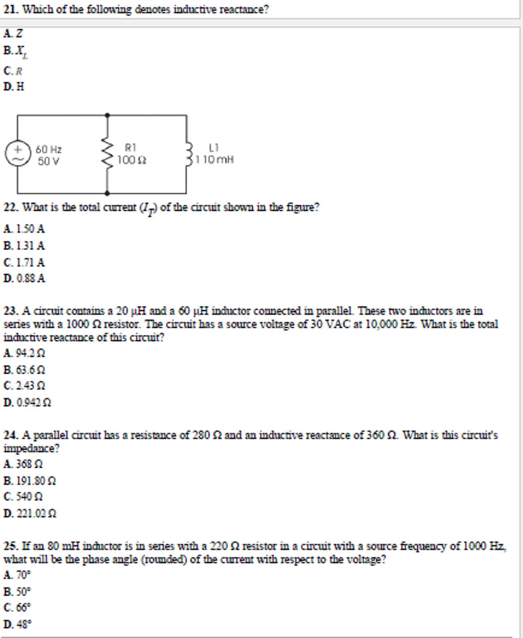 Solved What Is Tag Total Circuit Current Shown In The Fig Voltage A Parallel See More Show Transcribed Image Text Figure 35a 25a 075 025 Series Contains 30 Mh Inductor